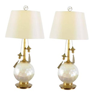Rare Pair of Blown Glass and Giltwood Pearl Lamps by Frederick Cooper For Sale