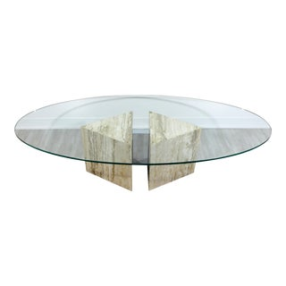 Mid-Century Modern Italian Marble Chrome Glass Surfboard Coffee Table, 1970s For Sale