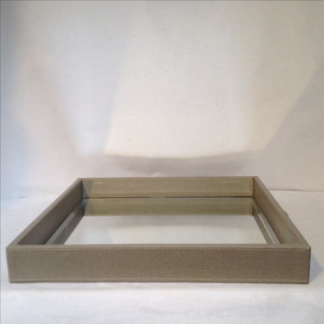 Large Shagreen-Texture Mirrored Tray - Image 3 of 7