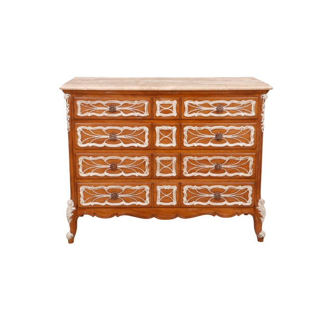 Carved French Dresser With German Marble Top For Sale In Tampa - Image 6 of 6