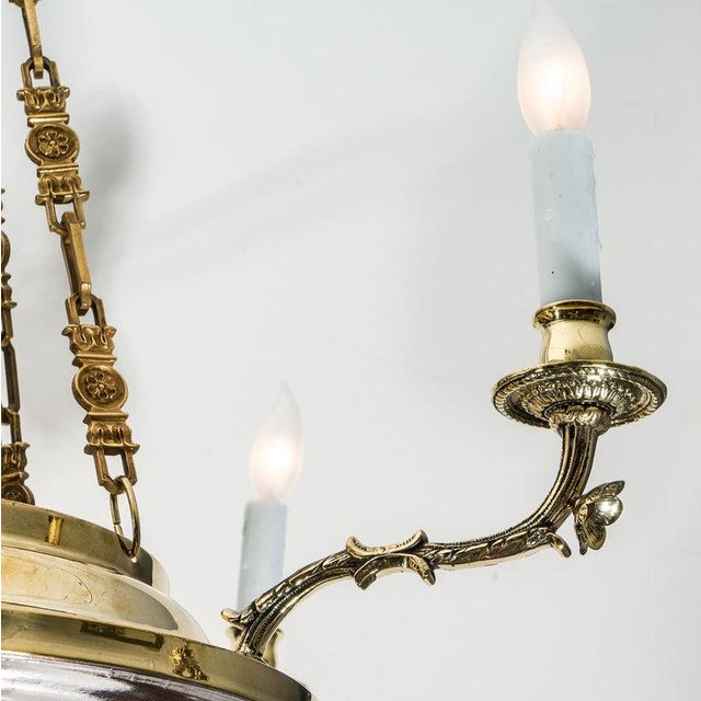 Art Deco Art Deco Chandelier in Brass and Satin Glass 1920s Lalique Style For Sale - Image 3 of 11
