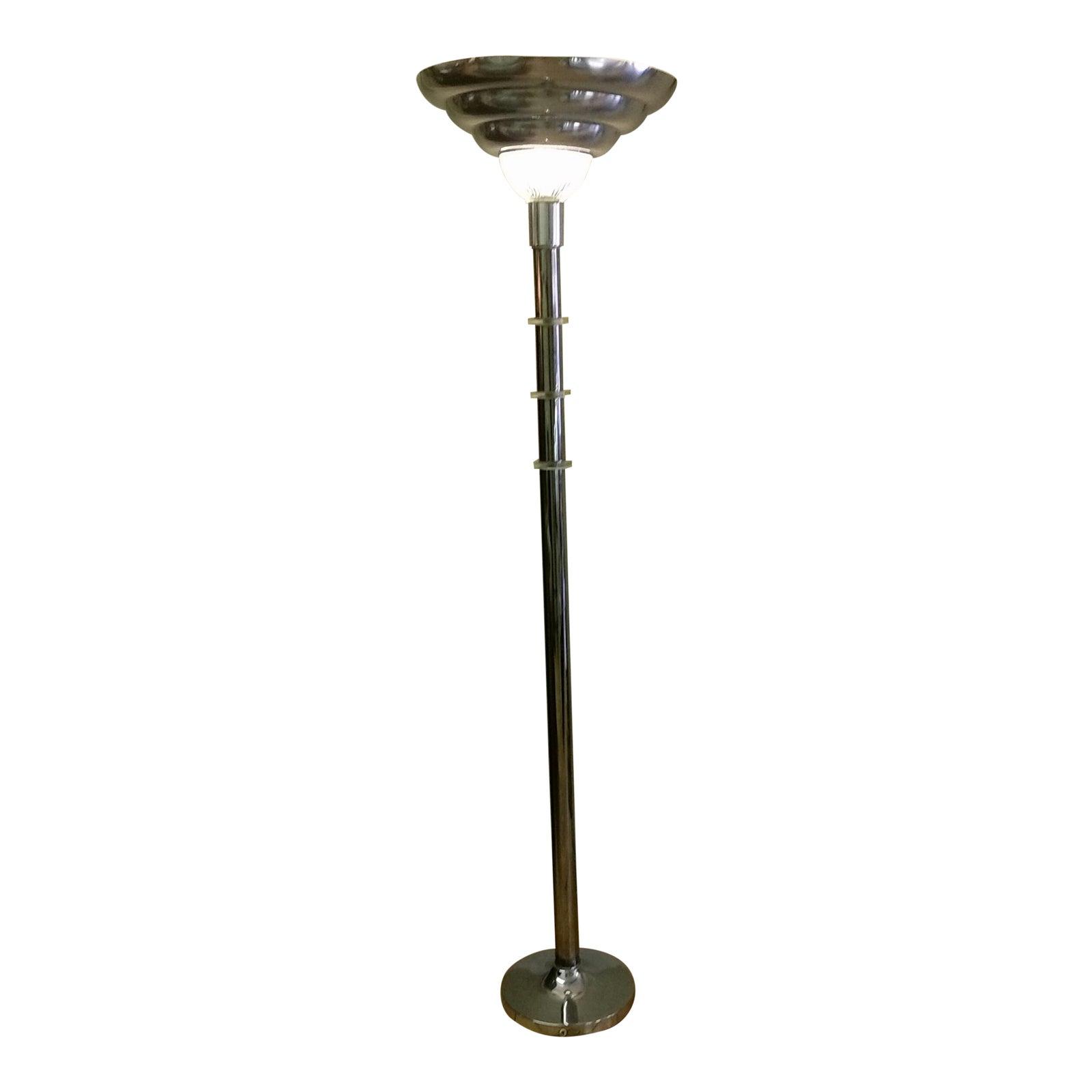 Vintage Art Deco Style Chrome & Lucite Torchiere Floor Lamp