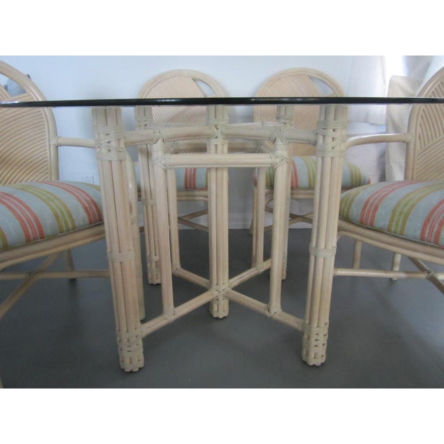 McGuire McGuire Vintage Hollywood Regency Bamboo Dining Set For Sale - Image 4 of 13