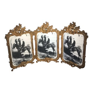 Antique American Art Nouveau Bronze Brass Triple Photo Frame With Convex Glass For Sale