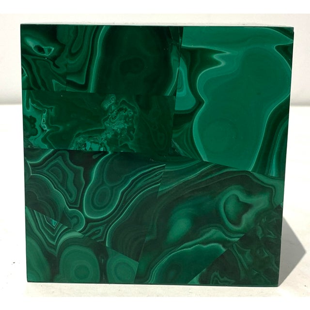 1970s Vintage 4-Inch Malachite Cube For Sale - Image 5 of 10