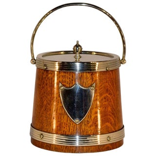 English Oak Biscuit Barrel For Sale