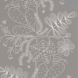 Sample - Schumacher Blommen Wallpaper in Smoke For Sale