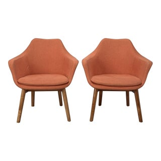 Orange Fabric Mid-Century Modern Armchairs in Style of Eero Saarinen- a Pair For Sale