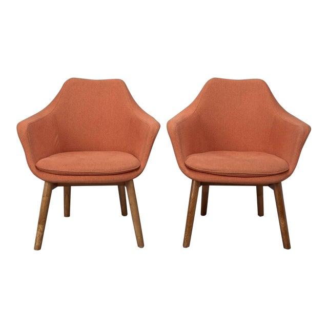 Orange Fabric Mid-Century Modern Armchairs in Style of Eero Saarinen- A Pair For Sale