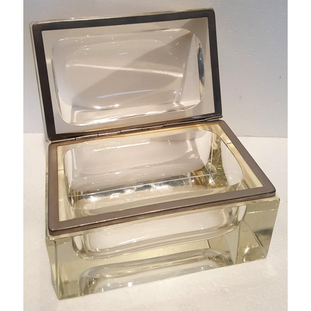 Vintage Heavy Rectangular Crystal Box For Sale - Image 4 of 6