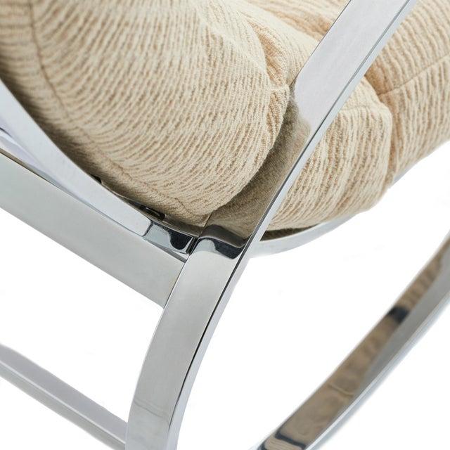 1970s Mid Century Modern Renato Zevi for Selig 'Ellipse' Chrome Rocking Chair For Sale - Image 5 of 9