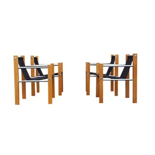 Mid-Century Vintage Chrome and Wood Cube Sling Chairs - Set of 4