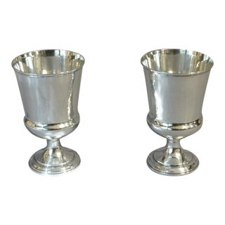 Antique Sterling Silver Goblets - a Pair For Sale