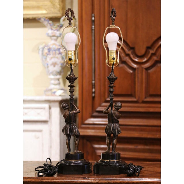 Pair of 19th Century French Patinated Bronze and Marble Figural Table Lamps For Sale - Image 11 of 13