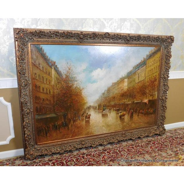 Paris Street Scene Impressionist Oil Painting For Sale - Image 4 of 11
