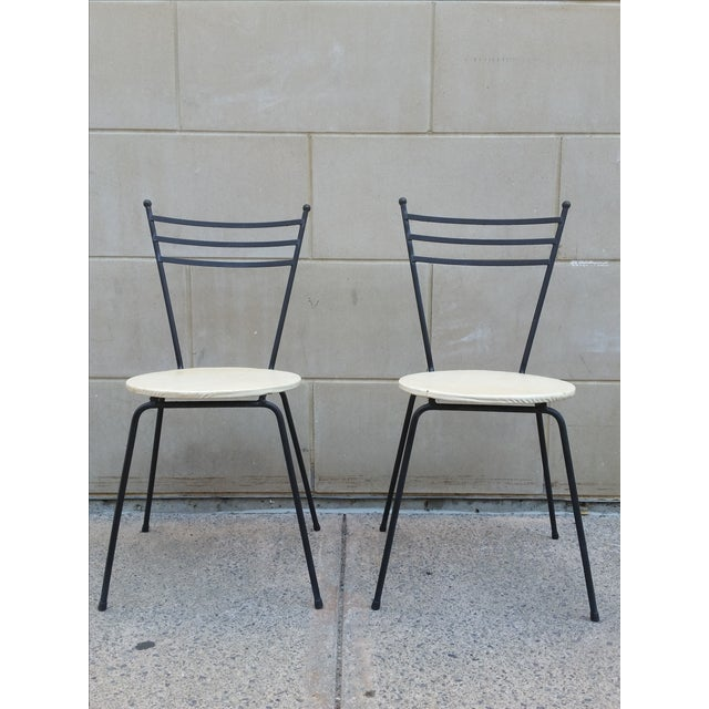 Mid-Century Petite Wrought Iron Cafe Chairs - Pair - Image 2 of 9