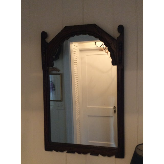 Early 19th Century Rustic Dark Oak Console and Mirror - 2 Pieces For Sale - Image 12 of 13