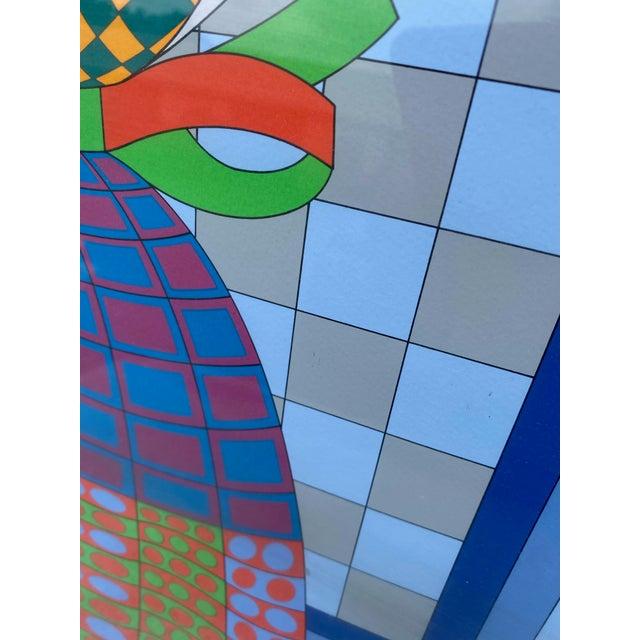 """Op Art 1980s """"Fille Fleur"""" Op Art Signed Serigraph by Victor Vasarely, Framed For Sale - Image 3 of 6"""