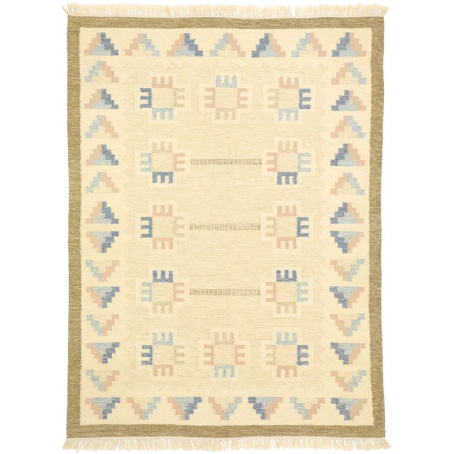 Beige Vintage Scandinavian Modern Style Swedish Kilim Rug - 5'8 X 7'7 For Sale - Image 8 of 9