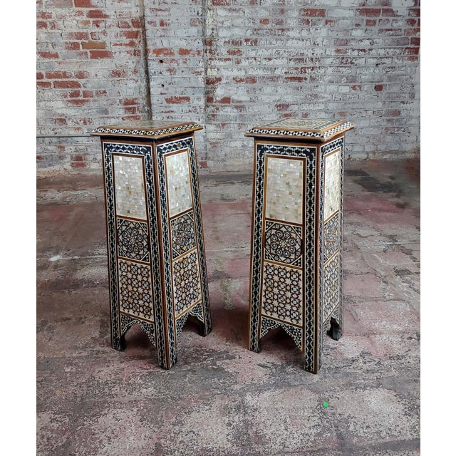 """Syrian Pair of Vintage """"Tower Shaped"""" Petite Inlaid Stands For Sale - Image 10 of 10"""