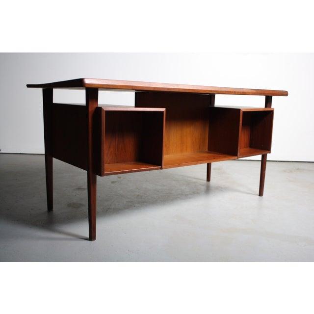 Peter Lovig Nielsen Danish Teak Floating Top Desk For Sale - Image 5 of 5