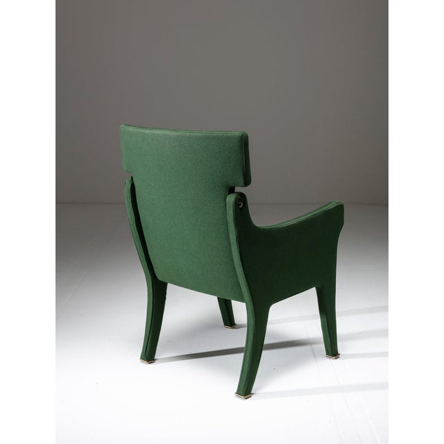 Chair model R63 by Ignazio Gardella for Azucena. Original green felt cover and brass details.
