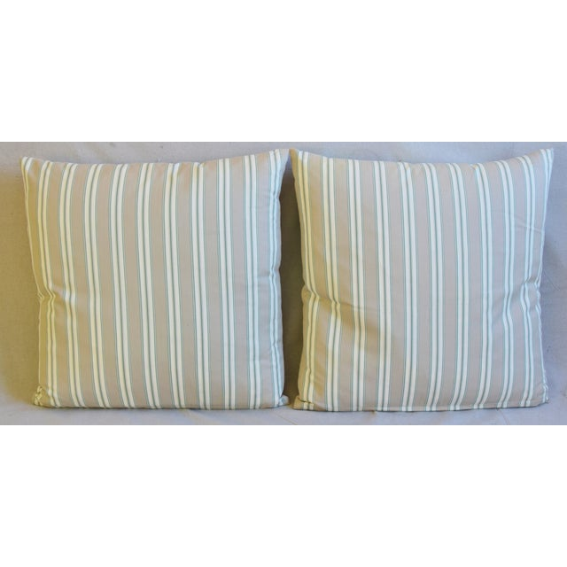 Pair of large custom-tailored double sided/reversible pillows in a vintage/never used 100% cotton French ticking fabric...
