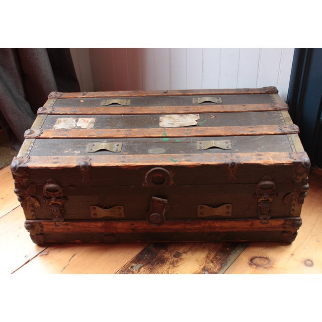 Americana 19th Century Americana Rustic Wooden Trunk For Sale - Image 3 of 5