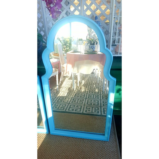 Set of 2- Vintage Moroccan Style Turqouise Blue Mirrors For Sale - Image 5 of 10