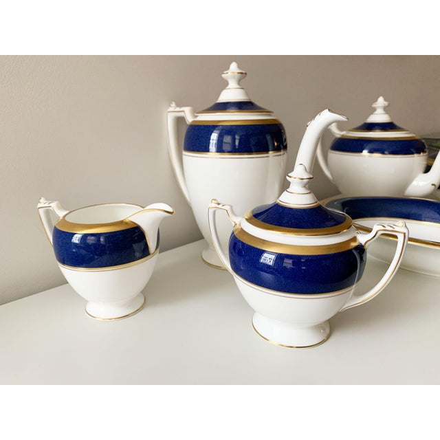 Athlone Blue and Gold Coalport China Tea Service - Set of 10 For Sale In New York - Image 6 of 9