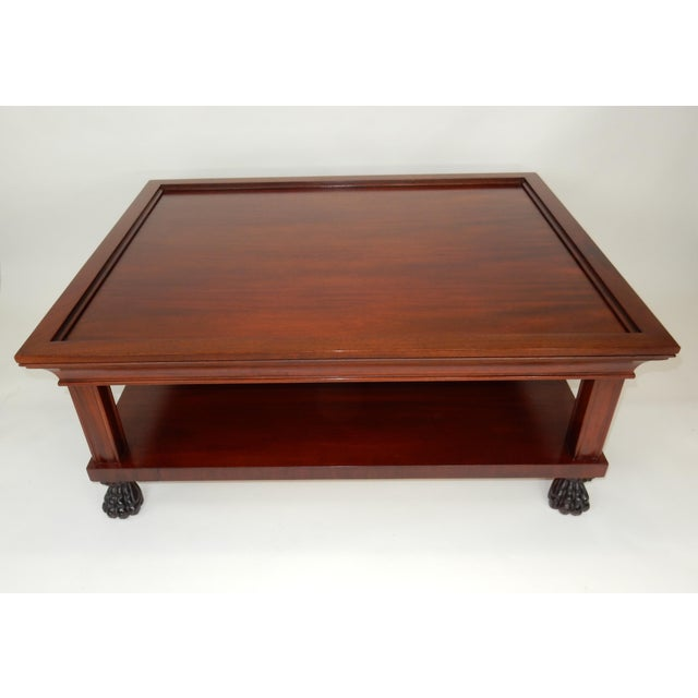 For your Consideration; Gorgeous Traditional Two Tier Mahogany Coffee Table by Ralph Lauren. Lions paw feet. Signed...