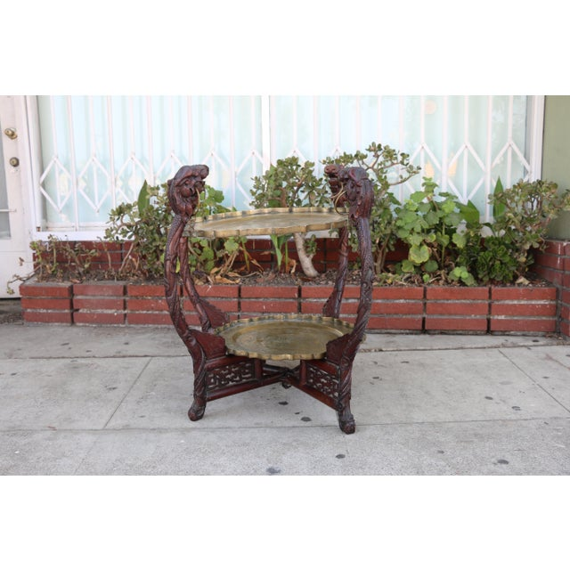 Antique Chinese 2 Tier Brass Center Table For Sale - Image 9 of 12