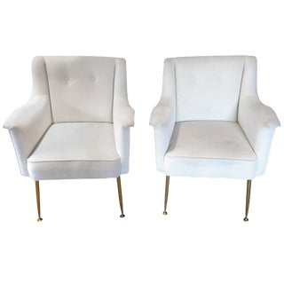 Italian Mid-Century Modern Lounge Club Chairs - a Pair For Sale