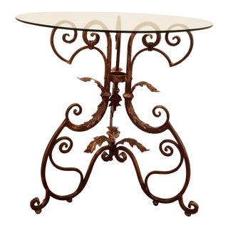 Shabby Chic French Style Round Glass Top & Metal Base Acanthus Side Table