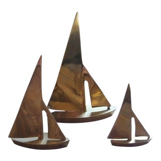 Mid Century Brass Sailboats - Set of 3 For Sale