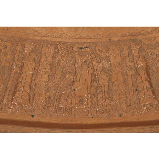 Large Persian Oval Decorative Copper Tray For Sale - Image 4 of 8