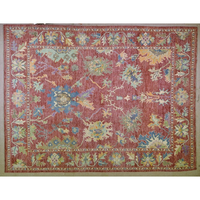 """Textile Vintage Turkish Hand Woven Silky Soft Wool Oushak Rug,10'x13'4"""" For Sale - Image 7 of 7"""