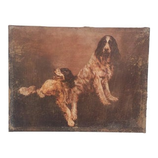 Early 20th Century Antique European English Springer Spaniels Canvas Painting For Sale