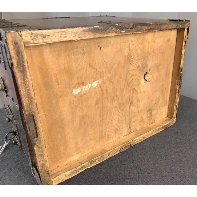 Antique Compact Chinese Seaman's Chest With Locks and Key For Sale - Image 12 of 13