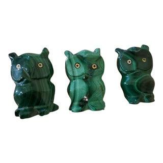 Vintage Malachite Carved Owl Stones - Set of 3 For Sale
