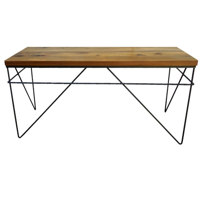 Modern Industrial Steel & Cedar Desk - Image 1 of 8