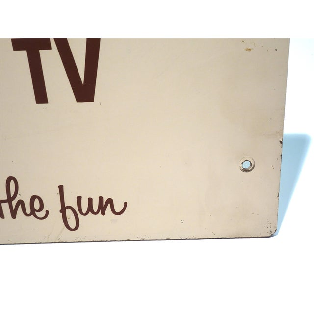 Rca Portable Tv Advertising Sign Circa Mid-20th Century Brown Over Beige on Wood For Sale - Image 4 of 13