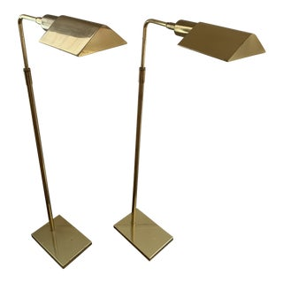 Koch and Lowy Brass Adjustable Floor Lamps - a Pair For Sale