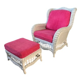 White Wicker Wingback Chair and Ottoman For Sale