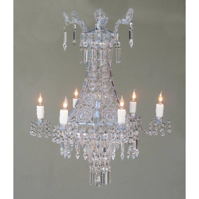 White Early 20th Century Italian Neoclassical Crystal and Tole Chandelier For Sale - Image 8 of 8