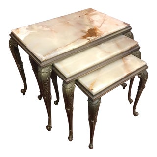Art Nouveau Side Tables With Onyx Tops - Set of 3 For Sale