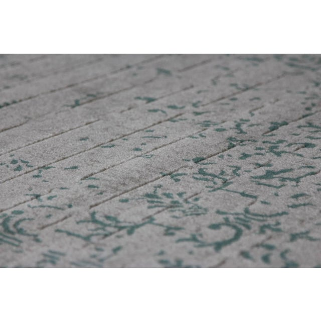 "Contemporary Vintage Faded Persian Teal Distressed Rug - 5'3"" X 7'7"" For Sale - Image 3 of 7"