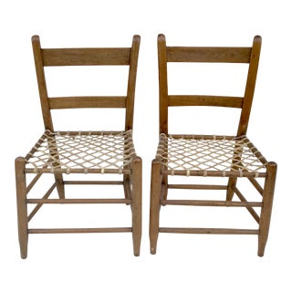 Raw Hide and Wooden Chairs - a Pair For Sale