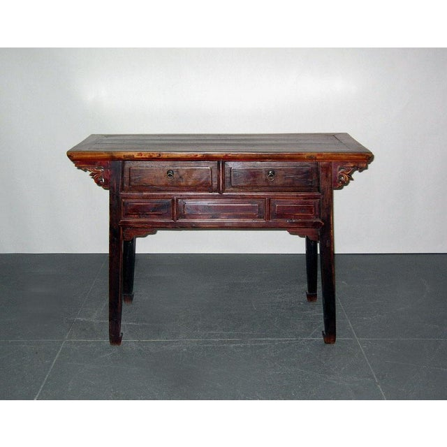 Typical side desk in Northern China in overall simple and elegant form. It is signed with splayed legs ending with horse-...
