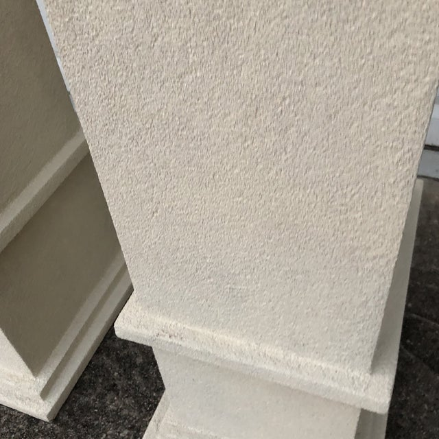 Cream Stone Colored Greek Architectural Columns - A Pair For Sale In Atlanta - Image 6 of 8